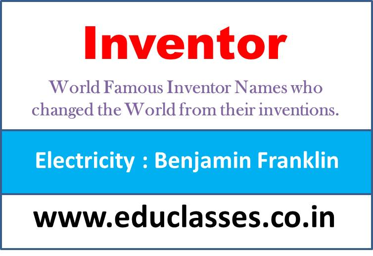 World Famous Inventor Names who changed the World from their inventions.
