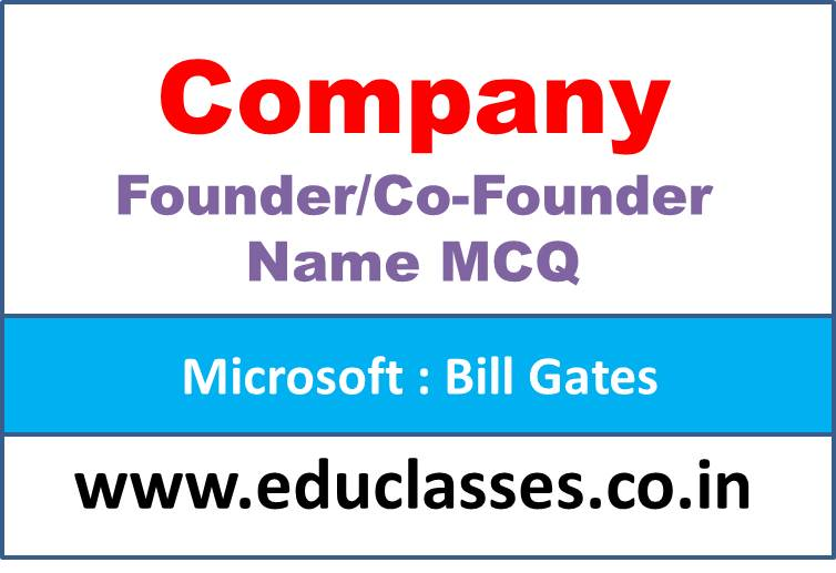 Company and its Founder/Co-Founder Name MCQ Quiz