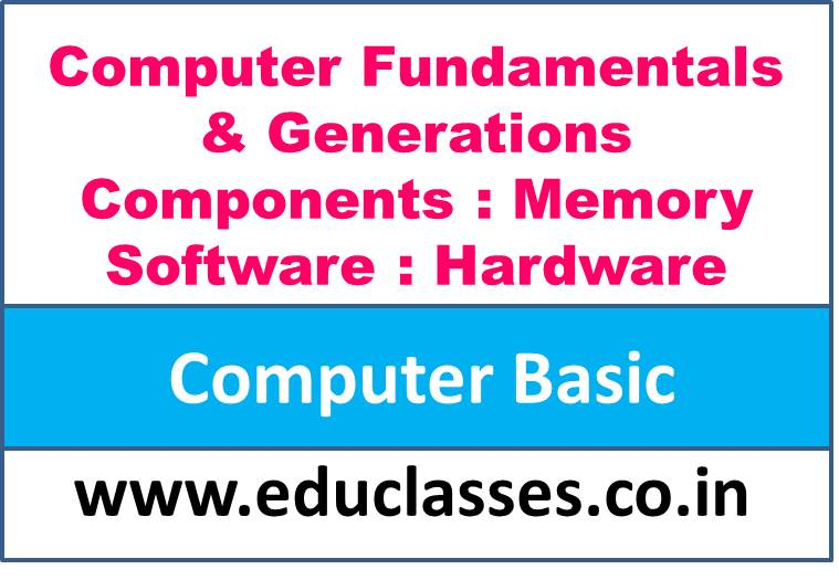 Computer Basic (A brief of Computer Fundamentals & Generations, Components, Memory, Software and Hardware)